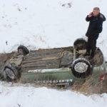 Video! O mașină de la școala auto Hîncești s-a răsturnat în șanț
