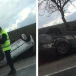 Video! Două mașini răsturnate pe traseul Chișinău-Hîncești