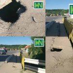 Atenție ! S-a format o groapă la podul de pe str.Chișinăului din Hîncești