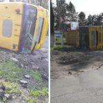 Accident la intrarea în Hîncești ! un camion s-a inversat