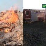 Video ! Incendiu în localitatea Bălceana ! au ars 2000 de baloturi de paie